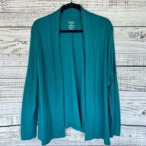 L.L. BEAN Teal Supima Cotton Open Front Cardigan